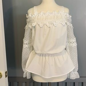 Cold Shoulder Crochet Sleeved Cotton Blouse